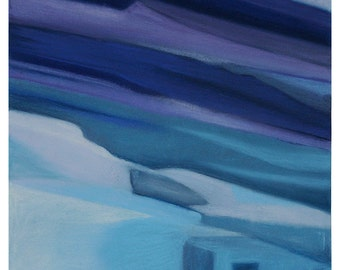 Blue Pastel Abstract Drawing- Square- Turquoise, Purple- Original Art on Paper- Surreal Landscape- 11x11- Adobe