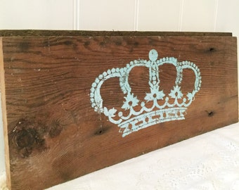 French Painted Crown Sign Old Rustic Barn Wood Nursery Decor