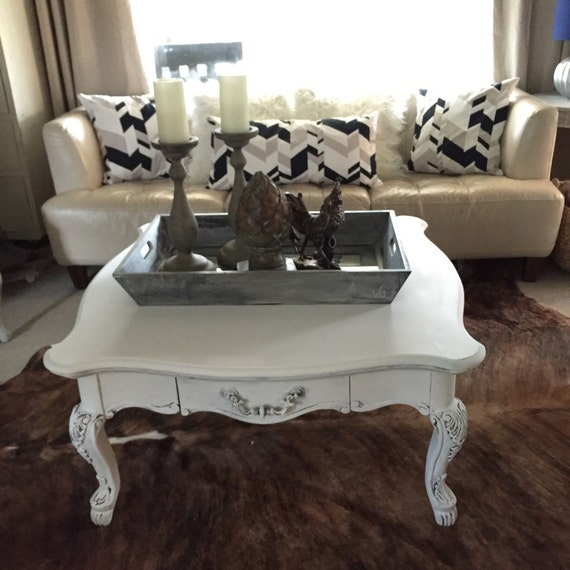 Shabby Chic Coffee Table Nz: White Coffee Table Square Table Distressed Shabby Cottage Chic