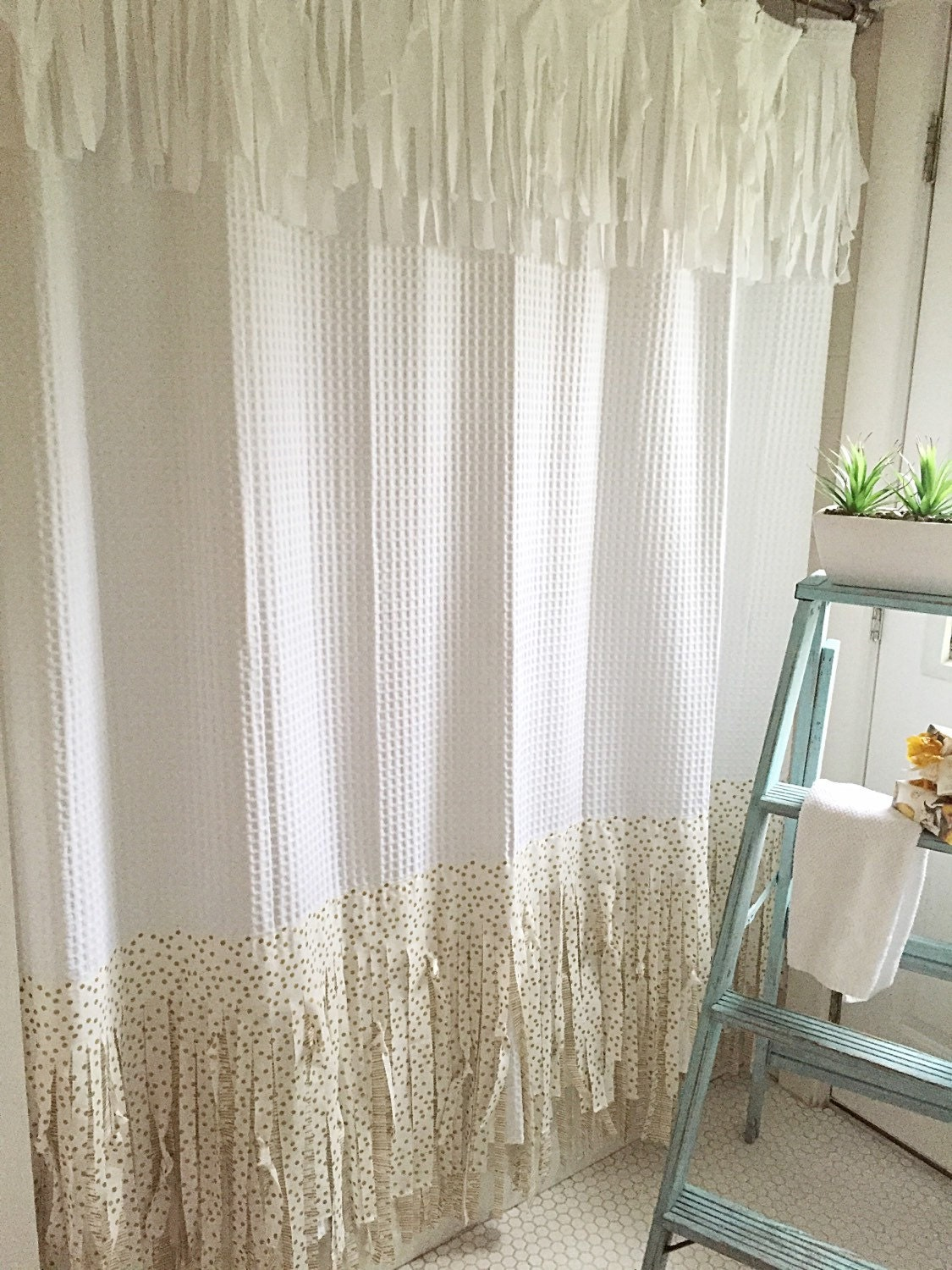 Fringe shower curtain shabby chic shower curtain bohemian for Rideaux style shabby