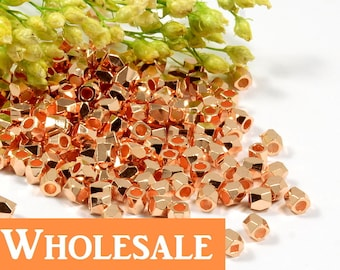 Diamond Cut Bead, 2.5mm, Faceted Bead, Rose Gold Plating, Tarnish Resist, Lead Free, Solid Brass Bead, 1.5mm Hole, WHOLESALE - 200 PCS/order