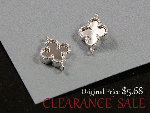 SALE - Four Leaf Clover Connector / Silver Clover connector charm in Rhodium Plating / 8mm x 10mm - 2 pcs/ order