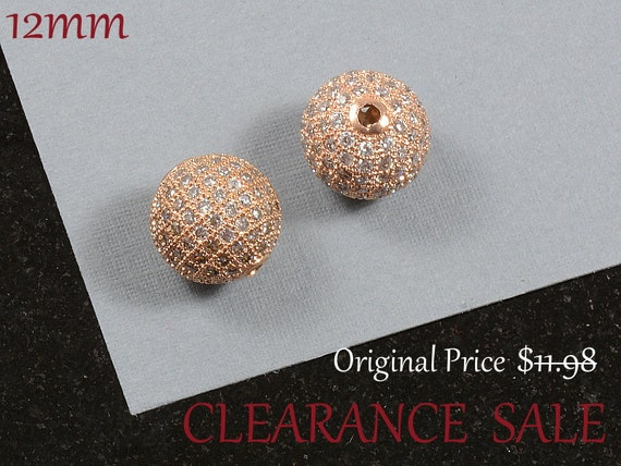 SALE - 12mm Micro Pave Ball with Clear Cubic Zirconia in Rose Gold Plating/ Pink Metal CZ Round Beads - 2 pcs/ order