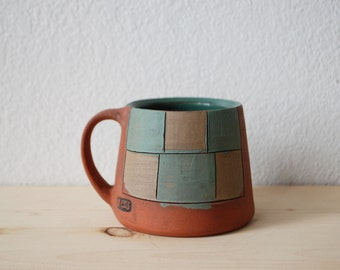 Teal and Khaki Checkered Mug
