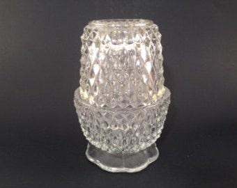 Vintage Fairy Lamp - Fairy Lamp - Votive Candle Holder - Vintage Candle Holder - Diamond Point Fairy Lamp - Clear Glass Fairy Lamp - Votive