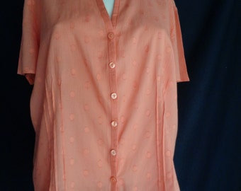 Vintage blouse coral color fine cotton