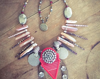 Red Talhakimt | Tribal Fusion Bellydance Necklace