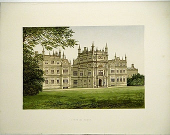 Corsham Court (Near Corsham) Wiltshire, England * 1880 Vintage Antique Castle Lithograph * Landscape Beautiful!