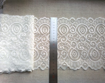 "Off white wedding lace,Stretch Lace Trim - Extra Wide black Lace Trim, 7"" Wide Lace Trim"