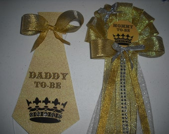 Baby shower Golden Prince Mommy To Be Corsage and Daddy To Be Tie