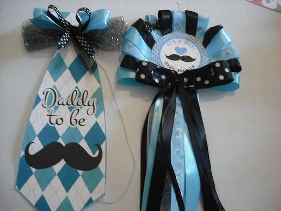Blue Mommy And Daddy Baby Shower Corsage Mustache Set Mom