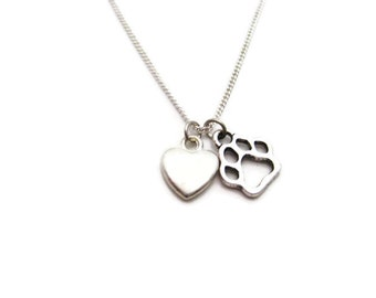 Dog Paw Necklace Loves Dogs Necklace  Heart Necklace Paw Necklace Pet Lover Necklace  Dog Paw Jewelry Pet Parent Gifts Dog Lovers Necklace