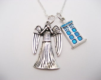 Weeping Angel Necklace Tardis Necklace Tardis Jewelry Doctor Who Necklace Whovian  Weeping Angel Jewelry Doctor Who Jewelry Gifts under 20
