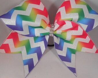 Cheer Bow Rainbow Chevron Zig Zag grosgrain by BlingItOnCheerBowz