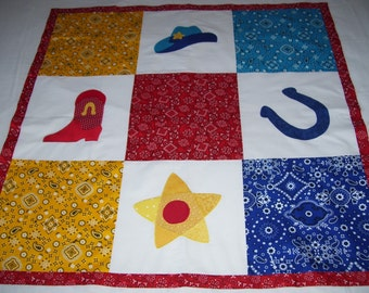 Unfinished quilt top for a boy or girl-ready to be quilted-machine appliqued