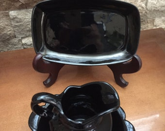 Vintage Frankoma #30 A and B Pot Belly Pitcher and Bowl and 5ps Tray In a Black Glaze