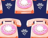 In Stock! Fat Quarter Telephones in Navy by Melody Miller for Cotton and Steel