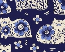 In Stock! Fat Quarter Sushis Antiques in Navy -- From Porto With Love by Sara Watts for Cotton and Steel