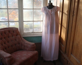 Vintage Cotton Nightgown. Long Pink NIghtie.Sheer.Cotton Blend.Sweet Sheer Lingerie.Button up Nghtie. Lingerie. Size Medium. Barbizon Jolie.