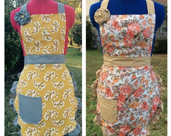 The Christine: Full Ruffled Women's Apron with Pocket and optional Flower, Mustard Yellow Print, Retro Rose Floral Print