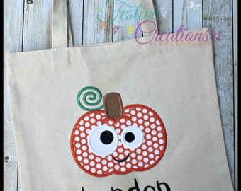 Children's Halloween Trick or Treat Canvas Bag, Pumpkin Halloween Tote Bag, Personalized Trick or Treat Bag, Personalized Halloween Bag
