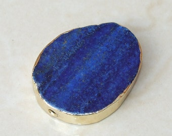 Lapis Lazuli Oval Slab - Lapis - Center Drilled - Slab Bead - Lapis Bead - Gold Edge - 29mm x 37mm - 8054