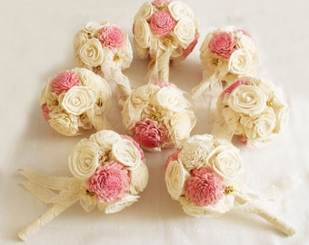 Bridal Bouquet or Bridesmaid bouquet , Wedding Cream and Pink, Sola flowers