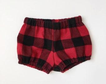 buffalo plaid lumberjack bloomers baby toddler bloomer shorts