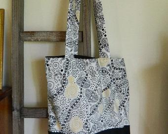Australian Designed Tote Bag - Handmade, Australian Aboriginal Artist Design Fabric, 100% cotton, fully lined with soft cotton canvas