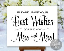 Best Wishes for Mrs and Mrs Wedding Sign Guest Book Printable LGBT Same Sex Lesbian Gay Wedding Digital Instant Download (#BES3B)