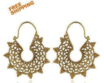 Ethnic hoop earrings- Indain jewelry- Gypsy earrings- Tribal brass jewelry- Moon earrings.