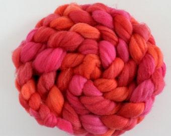 Falkland Seide,Rosenzeit, 120g top, Kammzug, handgefärbte Fasern zum Spinnen und Filzen