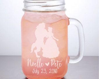 Beauty and the Beast Mason Jar: Personalized Mason Jar Mugs, Disney Wedding, Disney Bride Gift, Belle and the Beast,Mason Jar, mason jar Mug