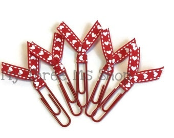 Valentines Filofax Clip, ribbon bookmarks, teacher valentine gift, cook book clip, valentines ribbon, heart decor, heart party favor, vday