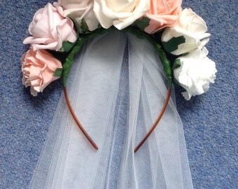 Floral hen do headband with veil made with foam roses