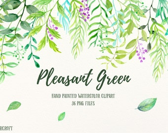 Watercolor Clipart Pleasant Green - variety green leaves, green branches and berries, wreaths and compositions for instant download