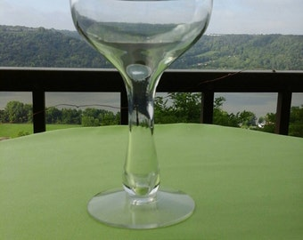 Vintage Toasting Mid Century MCM  Clear Glass Hollow Bulb Stem Champagne Coupe