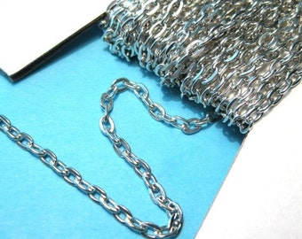 30 Ft /Spool Silver Tone Flat Cable Chains Link-Opened 3x4mm(No.377)