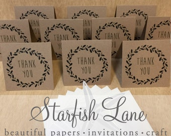Buffalo Wreath Thank You Card Pack/ 10 cards 99mmx99mm when folded & 10 Envelopes