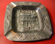Occupied Japan Metal Ashtray Dragon Asian Monument