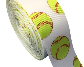 5 Yards of 2.25 inch Softball Grosgrain Ribbon