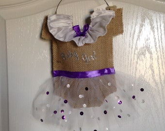Burlap baby girl hospital door hanger, girl hospital door hanger, baby girl welcome door hanger
