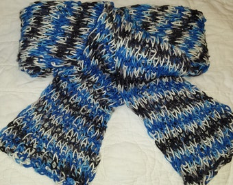 Lightweight loopy Scarf in Black, White and Blue! Hand Dyed, Guaranteed Unique!