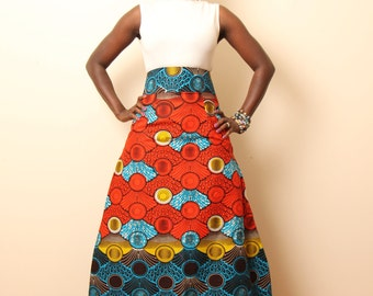 A-line  Maxi skirt in African Print