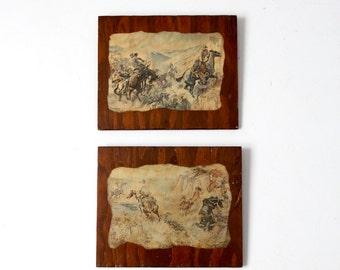 CM Russell prints on wood, cowboy artist western art