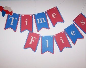 Time Flies Themed Birthday Banner, Boy birthday banner, birthday banner, red & blue banner, plane banner, Airplane Party