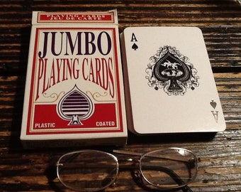 Jumbo Deck Of Cards Plastic Coated 5X3 1/2 inches (13x9)cm