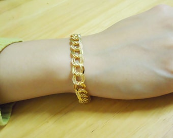 268. Double Cable Chain Bracelet - Gold plated, Gold color