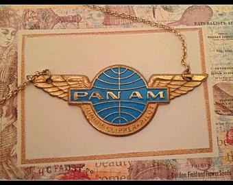 "VINTAGE PAN AM 1960s Jr. Pilot Pin necklace, 18K over Sterling Chain- 18"""