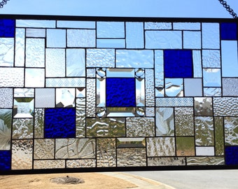 Dynamic Cobalt Blue  Stained Glass Panel with Bevels and Jewels - READY TO SHIP